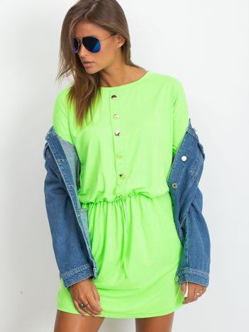 Fluo zielona sukienka z guzikami