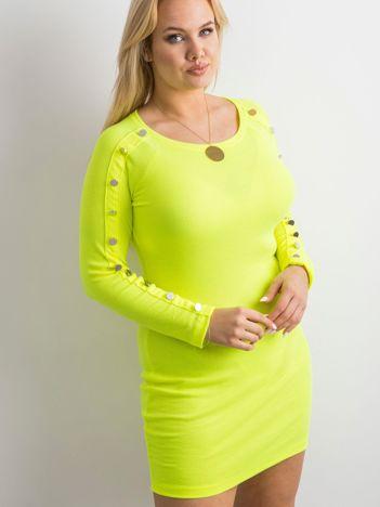 Fluo żółta prążkowana sukienka z guzikami