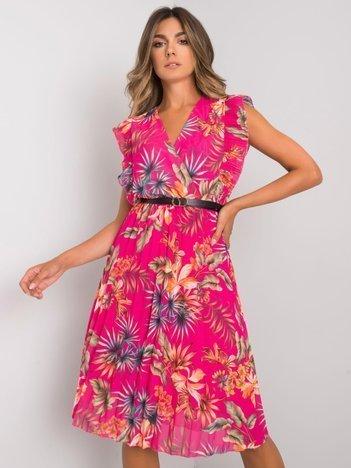 Fuksjowa sukienka plisowana Garrina