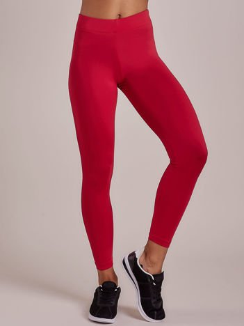 Fuksjowe długie cienkie legginsy do biegania