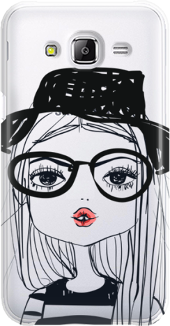 Funny Case ETUI SAMSUNG J5 J500 GIRL WITH PINK LIPS