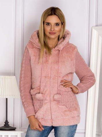 Futrzana kurtka z kapturem różowa
