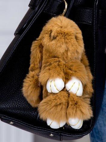 Futrzany brelok króliczek brązowy