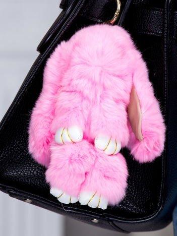 Futrzany brelok króliczek różowy