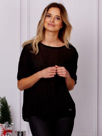 G by BACZYŃSKA Czarny sweter z kopertowym tyłem