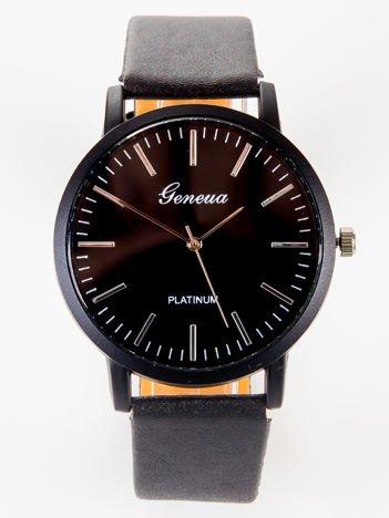Geneva PLATINUM Elegancki czarny zegarek unisex