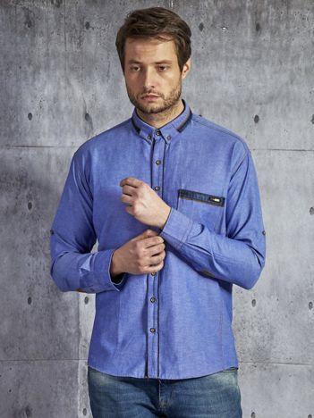 Gładka bawełniana koszula męska z kieszenią niebieska PLUS SIZE