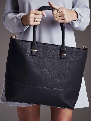 Gładka torba damska shopper czarna