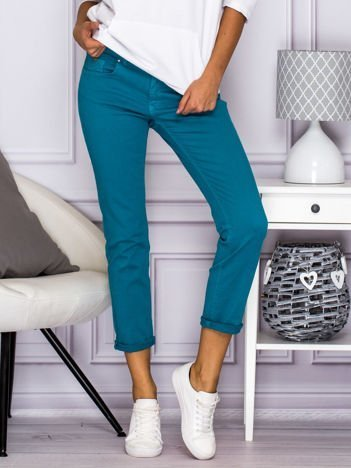 Gładkie spodnie z materiału turkusowe