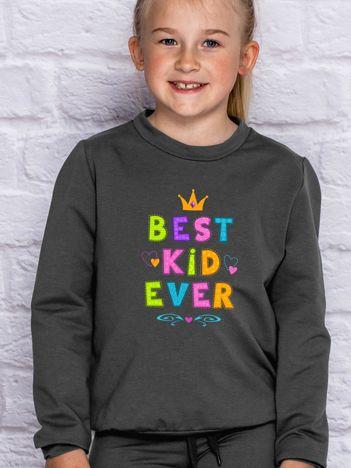 Grafitowa bluza dla dziewczynki BEST KID EVER