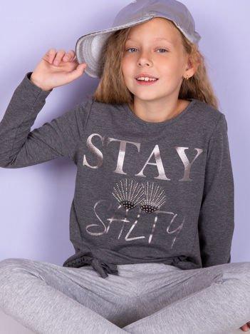 Grafitowa bluza dziewczęca ze srebrnym nadrukiem i kokardkami