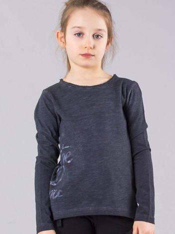 Grafitowa bluzka dziewczęca z napisem na boku
