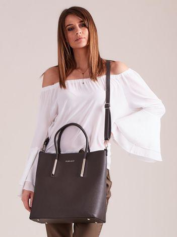 Grafitowa elegancka torba z odpinanym paskiem