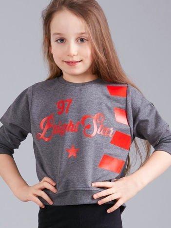 Grafitowa krótka bluza z nadrukiem dla dziewczynki