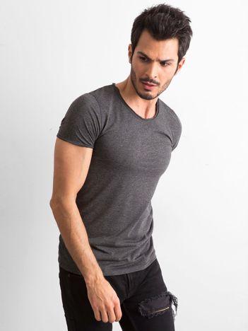 Grafitowa melanżowa gładka koszulka męska