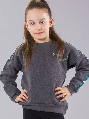 Grafitowa ocieplana bluza dziewczęca z cekinami na rękawach