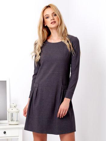 Grafitowa sukienka z imitacją kieszeni
