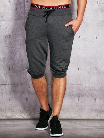 Grafitowe dresowe szorty męskie ze ściągaczem