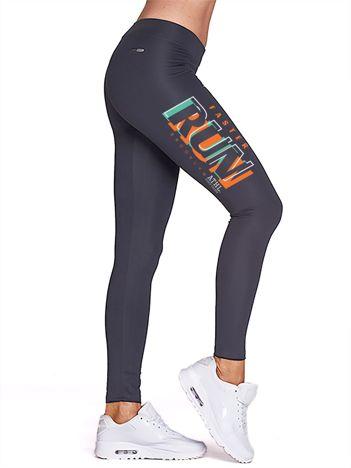 Grafitowe legginsy do fitnessu z nadrukiem RUN