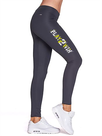 Grafitowe legginsy fitness z nadrukiem z boku