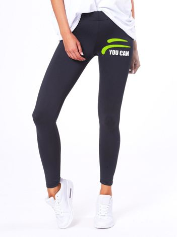 Grafitowe legginsy z sportowym nadrukiem
