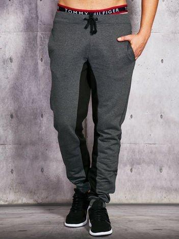 Grafitowe spodnie dresowe męskie z czarnymi wstawkami