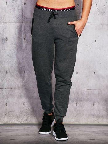 Grafitowe spodnie dresowe męskie z suwakami