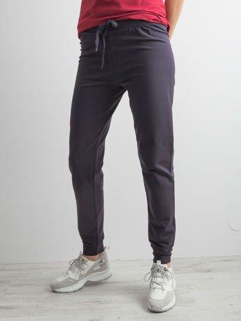 Grafitowe spodnie dresowe z troczkami