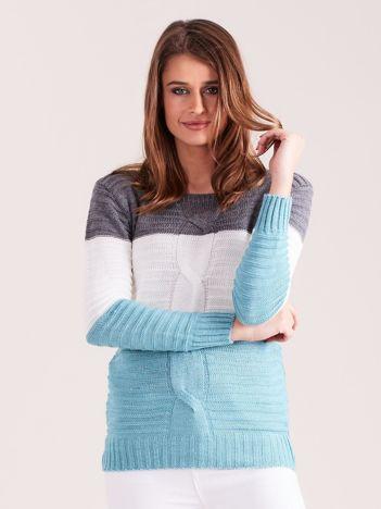Grafitowo-miętowy sweter w szerokie pasy