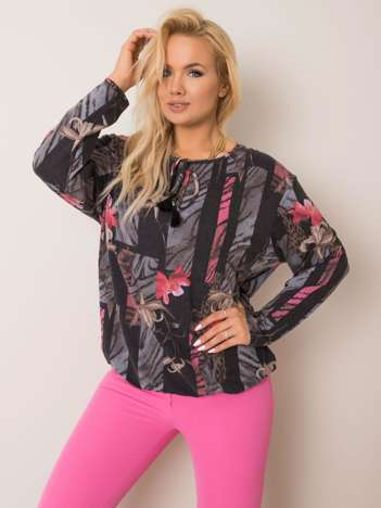 Grafitowo-różowa bluzka plus size Rosaline