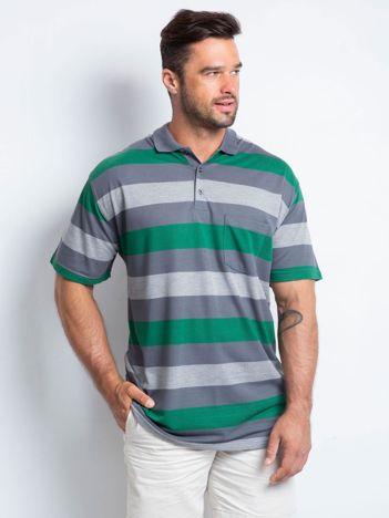 Grafitowo-zielona męska koszulka polo plus size Crowdy