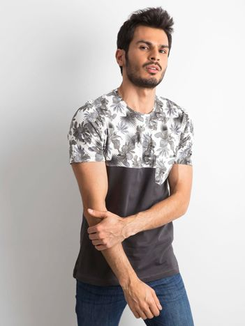 Grafitowy t-shirt męski z motywem kwiatowym