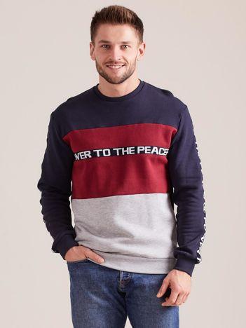 Granatowa bawełniana bluza męska z napisami