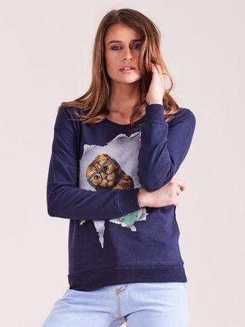 Granatowa bawełniana bluza z nadrukiem kota