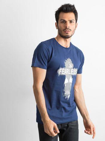Granatowa bawełniana koszulka męska z nadrukiem