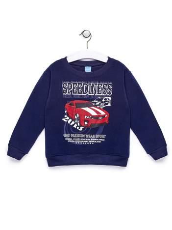 Granatowa bluza chłopięca z nadrukiem samochodu