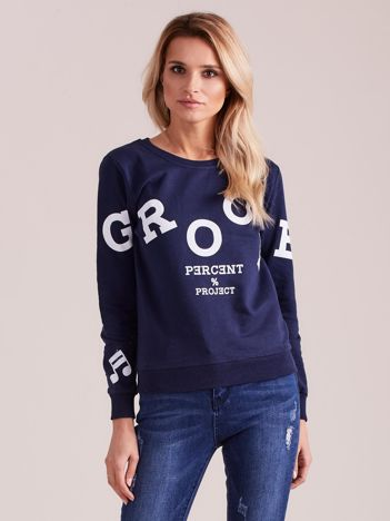 Granatowa bluza damska z nadrukiem