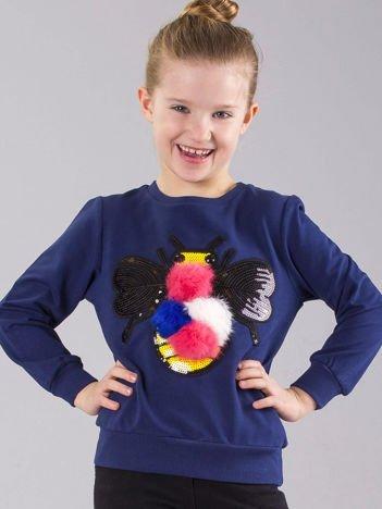 Granatowa bluza dziewczęca z pomponami i cekinami