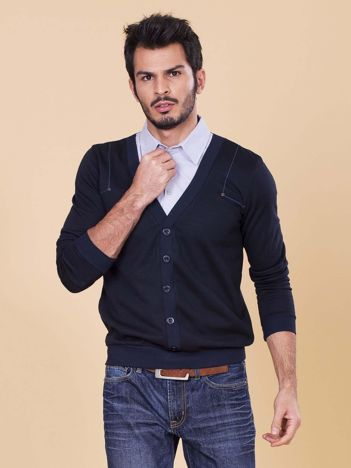 Granatowa bluza męska z koszulą