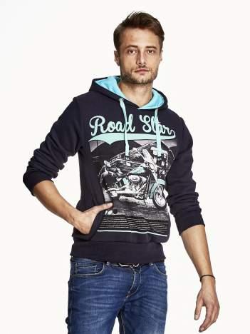 Granatowa bluza męska z nadrukiem i napisem ROAD STAR