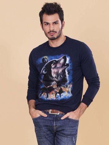 Granatowa bluza męska z wilkiem