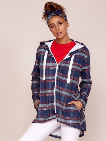 Granatowa bluza w kratę z kapturem