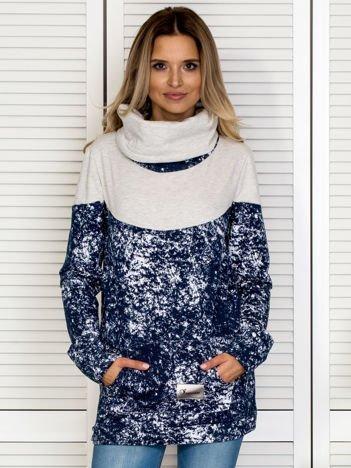 Granatowa bluza z marmurkowym deseniem