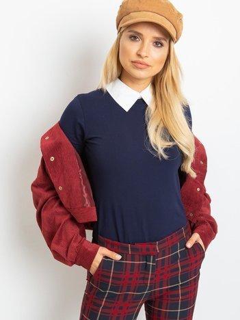Granatowa bluzka Collar