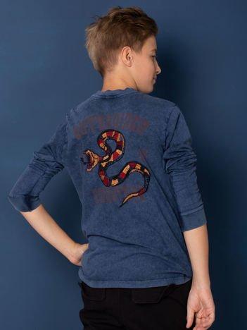 Granatowa bluzka chłopięca z nadrukiem