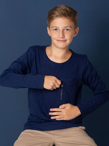 Granatowa bluzka dziecięca z kieszonką na suwak