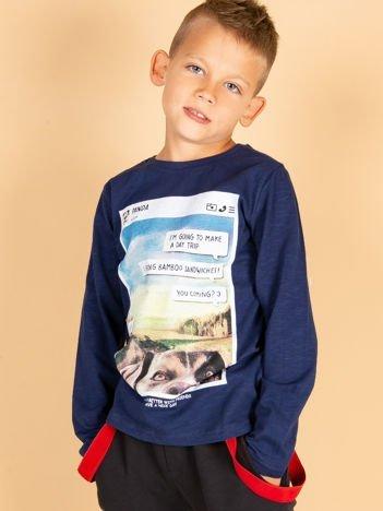 Granatowa bluzka dziewczęca z pieskiem