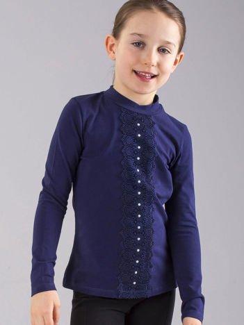 Granatowa bluzka dziewczęca ze wstawką koronkową
