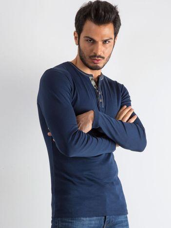 Granatowa bluzka męska z długim rękawem