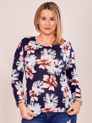 Granatowa bluzka w kolorowe kwiatowe wzory PLUS SIZE